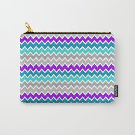 Teal Turquoise Blue Purple Grey Gray Chevron  Carry-All Pouch