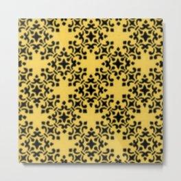 Vintage Brocade Damask Primrose Yellow Metal Print