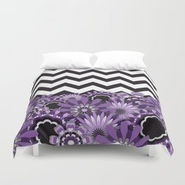 Purple Flower Chevron Duvet Cover
