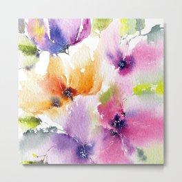 Watercolor Flowers. Summer florals Metal Print