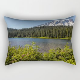 Wildlflower Color by Reflection Lake and Mt Rainier, No. 1 Rectangular Pillow