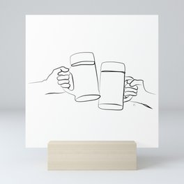""""""" Kitchen Collection """" - Two Hands Holding Beer Glasses Mini Art Print"""