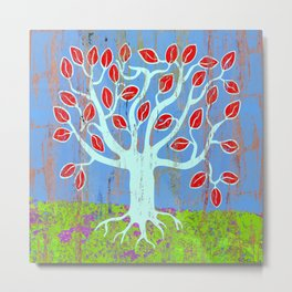 Tree of life, colourful naive style art print Metal Print