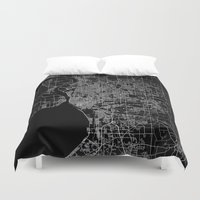 new york map Duvet Covers featuring Buffalo map New York by Line Line Lines