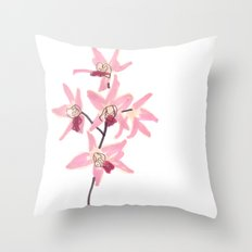 Pink Orchid Flower Throw Pillow
