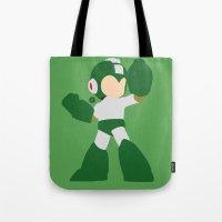 mega man Tote Bags featuring Mega Man(Smash)Green by samaran