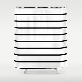 Horizontal Lines (Black & White Pattern) Shower Curtain