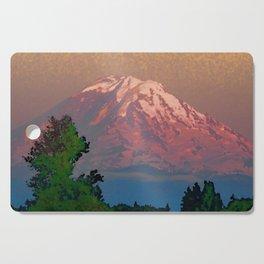 Snow-capped Mount Rainier at Dusk Painterly Photo Illustration Cutting Board