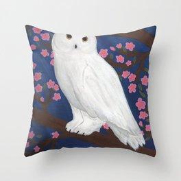 Snow Owl on Cherry Tree Throw Pillow