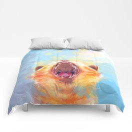 Rise and Shine, Kitty - colorful cat illustration Comforters