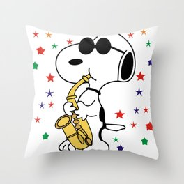 snoopy jazz Throw Pillow