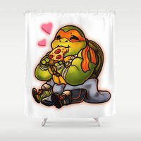 chibi Shower Curtains featuring Chibi Michelangelo by Noodles ^7^