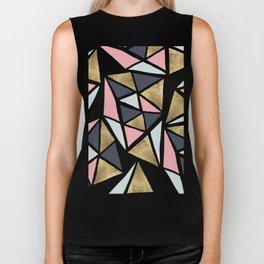Modern geometrical pink navy blue gold triangles pattern Biker Tank