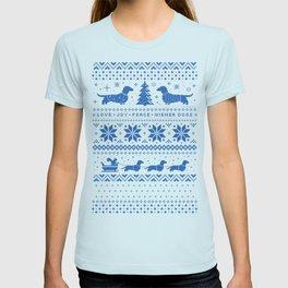 Love Joy Peace Wiener Dogs Blue Pattern T-shirt