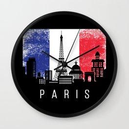 Paris City French Flag Wall Clock