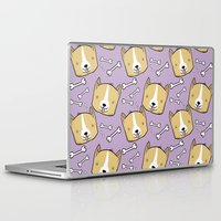corgi Laptop & iPad Skins featuring Corgi Pattern by Noreen Torelli