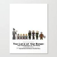lotr Canvas Prints featuring 8-bit LOTR The Fellowship of The Ring by MrHellstorm