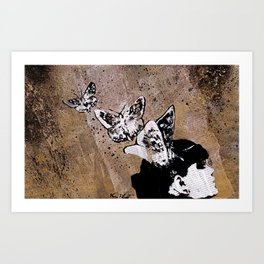 Long Gone Whisper II (street art graffiti painting, girl with butterflies) Art Print