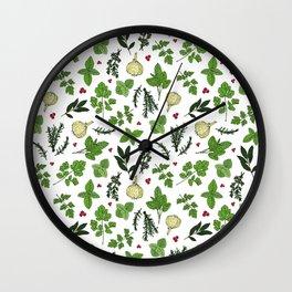 Culinary Kitchen Garden Herbs Pattern Wall Clock