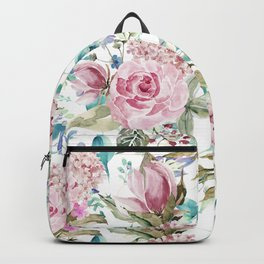 Country chic blush pink teal lavender watercolor floral Backpack