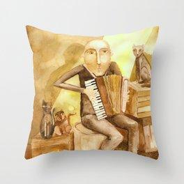 Cat's music Throw Pillow