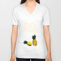 psych V-neck T-shirts featuring are you a fan of delicious flavor? .. psych tv show.. funny quote.. pineapple by studiomarshallarts