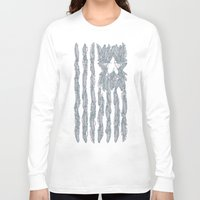 garfield Long Sleeve T-shirts featuring America Feather Flag by Sitchko Igor