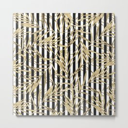 Elegant black white stripes faux gold tropical leaves Metal Print