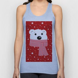 Muzzle of a polar bear on a red background. Unisex Tank Top