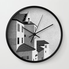 Castle in the Sky   Black & White Wall Clock