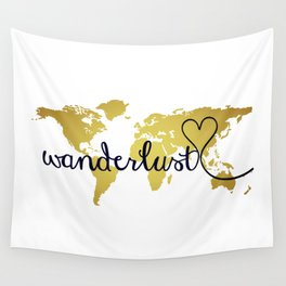 Faux foil wall tapestries society6 wanderlust world map with faux gold foil wall tapestry gumiabroncs Images