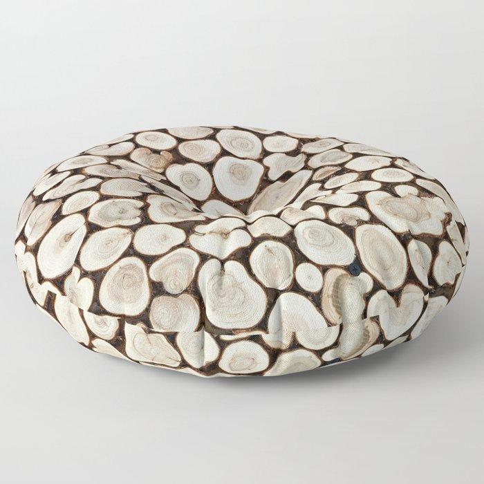 Background of wooden slices tree Floor Pillow