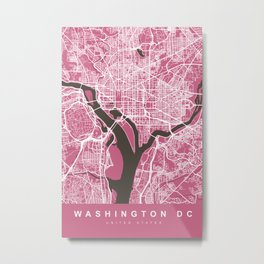 WASHINGTON DC City Map   US   Pink   More Colors, Review My Collections Metal Print