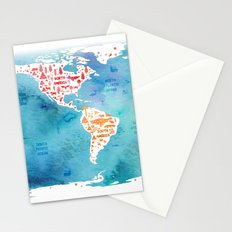 worldmap continents and oceans Stationery Cards