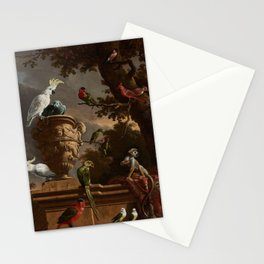 Melchior d'Hondecoeter, The menagerie (1690) Stationery Cards