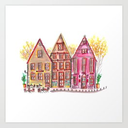 Coloured houses II Art Print