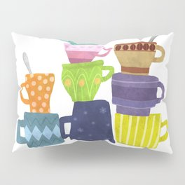Coffee And Tea Cups And Mugs Stacked High Pillow Sham