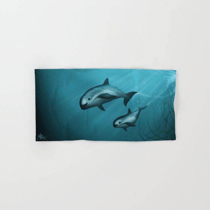 Treacherous Waters - Vaquita Porpoise Art, Original Digital Painting by Amber Marine, Copyright 2015 Hand & Bath Towel
