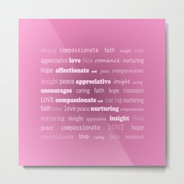 Fun With Colour & Words - Pink Metal Print