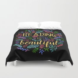 Reading is Beautiful - Gold Foil Duvet Cover