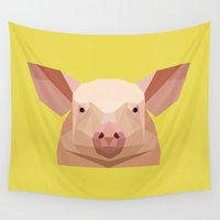 pig Wall Tapestries featuring Pig by Alysha Dawn
