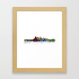 Los Angeles City Skyline HQ v3 Framed Art Print