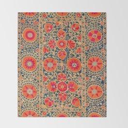 Kermina Suzani Uzbekistan Print Throw Blanket
