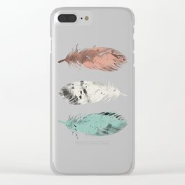 Pastel Feathers Clear iPhone Case