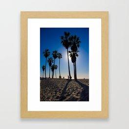 Sun on palm tree Framed Art Print