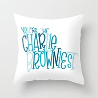 charlie brown Throw Pillows featuring Charlie Browniest by Chelsea Herrick