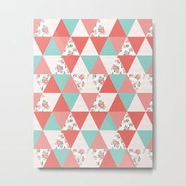 Triangle quilt pattern cute florals dots cheater quilt blanket quilter must have cute baby shower  Metal Print