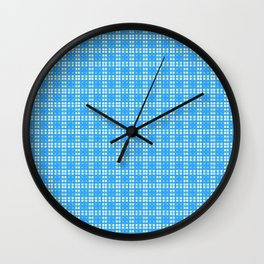 Yellow Blue White Cell Checks Wall Clock