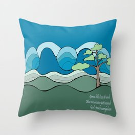 Into the Hills with Poetry  Throw Pillow