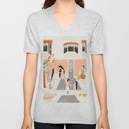 Palace Woman Enjoy Music by the Side of a Water Cascade - 18th Century Classical Hindu Art Unisex V-Neck